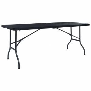 Τραπέζι Κήπου Πτυσσόμ. Μαύρο 180x75x72 εκ. HDPE Απομίμηση Ρατάν