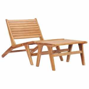 Καρέκλα Κήπου με Υποπόδιο από Μασίφ Ξύλο Teak