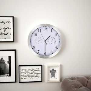 Ρολόι Τοίχου Λευκό 30 εκ. Quartz με Υγρόμετρο και Θερμόμετρο