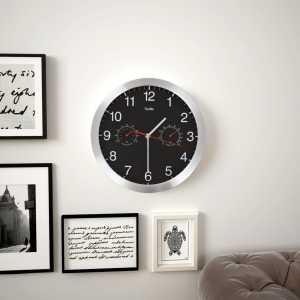 Ρολόι Τοίχου Μαύρο 30 εκ. Quartz με Υγρόμετρο και Θερμόμετρο