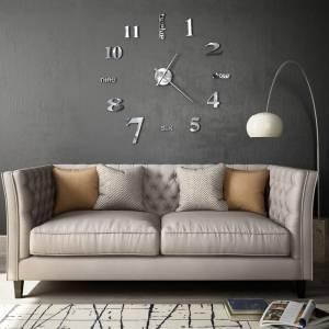 Ρολόι Τοίχου Τρισδιάστατο Μοντέρνο Ασημί 100 εκ. XXL