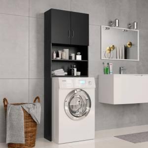 Ντουλάπι Πλυντηρίου Μαύρο 64 x 25,5 x 190 εκ. από Μοριοσανίδα