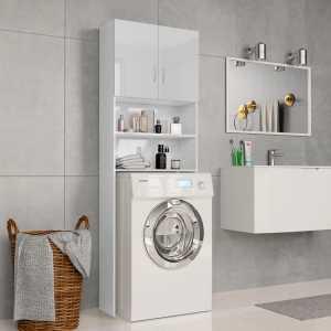 Ντουλάπι Πλυντηρίου Γυαλιστερό Λευκό 64x25,5x190 εκ Μοριοσανίδα