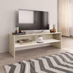Έπιπλο Τηλεόρασης Λευκό / Sonoma Δρυς 120x40x40 εκ. Μοριοσανίδα