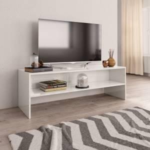 Έπιπλο Τηλεόρασης Γυαλιστερό Λευκό 120x40x40 εκ. Μοριοσανίδα