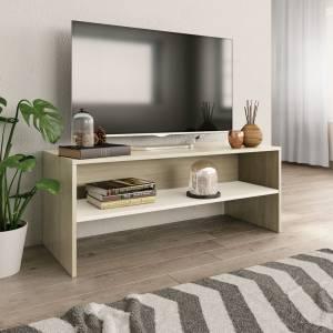 Έπιπλο Τηλεόρασης Λευκό / Sonoma Δρυς 100x40x40 εκ. Μοριοσανίδα