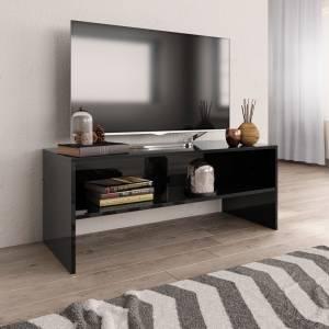 Έπιπλο Τηλεόρασης Γυαλιστερό Μαύρο 100x40x40 εκ. Μοριοσανίδα