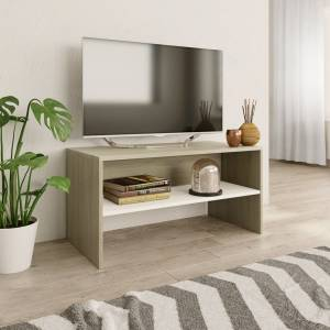 Έπιπλο Τηλεόρασης Λευκό / Sonoma Δρυς 80x40x40 εκ. Μοριοσανίδα