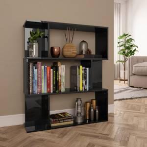Βιβλιοθήκη/Διαχωριστικό Γυαλιστ. Μαύρο 80x24x96 εκ. Μοριοσανίδα