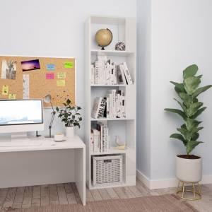 Βιβλιοθήκη/Διαχωριστικό Γυαλιστ. Λευκό 45x24x159 εκ Μοριοσανίδα