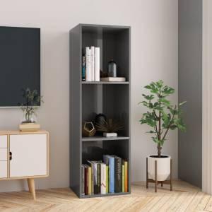 Βιβλιοθήκη/Έπιπλο TV Γυαλιστερό Γκρι 36x30x114 εκ. Μοριοσανίδα