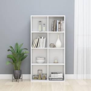 Ραφιέρα/Βιβλιοθήκη Γυαλιστερό Λευκό 66x30x130 εκ. Μοριοσανίδα