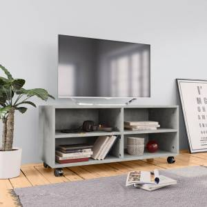 Έπιπλο TV με Ρόδες Γκρι Σκυροδέματος 90x35x35 εκ. Μοριοσανίδα