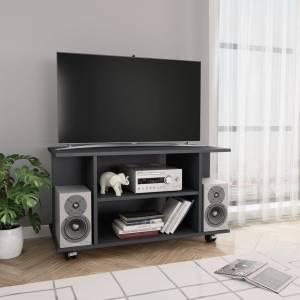 Έπιπλο Τηλεόρασης με Ρόδες Γκρι 80x40x40 εκ. από Μοριοσανίδα