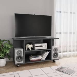 Έπιπλο Τηλεόρασης με Ρόδες Γυαλ. Γκρι 80x40x40 εκ. Μοριοσανίδα