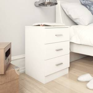 Κομοδίνα 2 τεμ. Λευκά 38 x 35 x 56 εκ. από Μοριοσανίδα