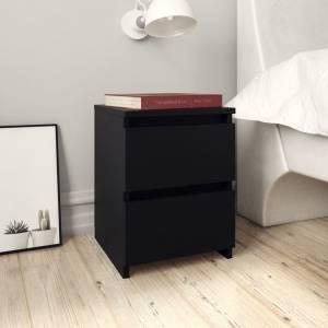 Κομοδίνα 2 τεμ. Μαύρα 30 x 30 x 40 εκ. από Μοριοσανίδα