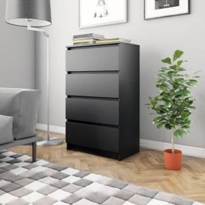 Συρταριέρα Μαύρη 60 x 35 x 98,5 εκ. από Μοριοσανίδα