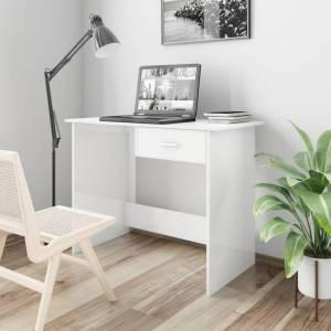 Γραφείο Γυαλιστερό Λευκό 100 x 50 x 76 εκ. από Μοριοσανίδα