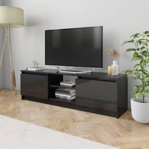 Έπιπλο Τηλεόρασης Γυαλιστερό Μαύρο 120x30x35,5 εκ. Μοριοσανίδα