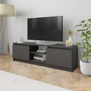 Έπιπλο Τηλεόρασης Γυαλιστερό Γκρι 120x30x35,5 εκ. Μοριοσανίδα