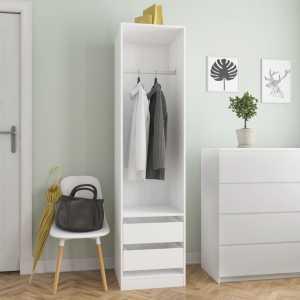 Ντουλάπα με Συρτάρια Λευκή 50 x 50 x 200 εκ. από Μοριοσανίδα