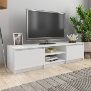 Έπιπλο Τηλεόρασης Γυαλιστερό Λευκό 140x40x35,5 εκ. Μοριοσανίδα