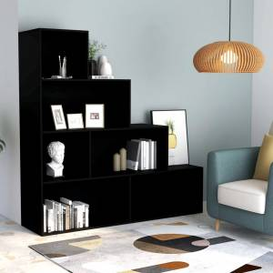 Βιβλιοθήκη/Διαχωριστικό Χώρου Μαύρο 155x24x160 εκ. Μοριοσανίδα