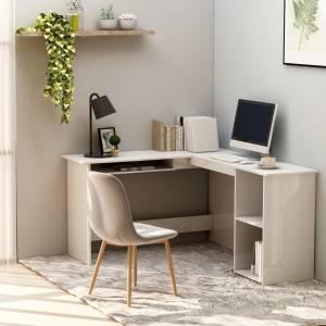 Γραφείο Γωνιακό Γυαλιστερό Λευκό 120 x 140 x 75 εκ. Μοριοσανίδα