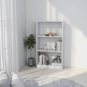 Βιβλιοθήκη με 3 Ράφια Λευκή 60 x 24 x 108 εκ. από Μοριοσανίδα