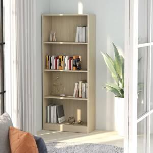 Βιβλιοθήκη με 4 Ράφια Sonoma Δρυς 60x24x142 εκ. Μοριοσανίδα