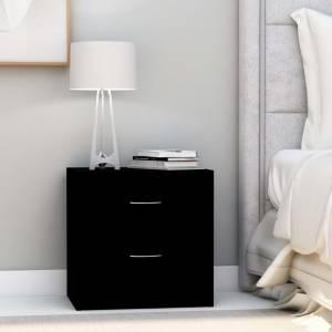 Κομοδίνο Μαύρο 40 x 30 x 40 εκ. από Μοριοσανίδα