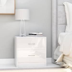 Κομοδίνο Γυαλιστερό Λευκό 40 x 30 x 40 εκ. από Μοριοσανίδα