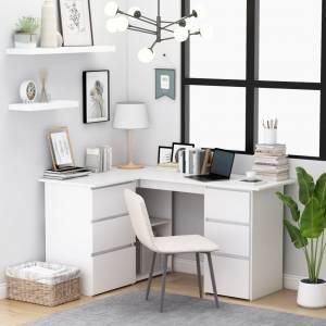 Γραφείο Γωνιακό Λευκό 145 x 100 x 76 εκ. από Μοριοσανίδα