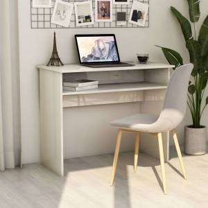 Γραφείο Γυαλιστερό Λευκό 90 x 50 x 74 εκ. από Μοριοσανίδα
