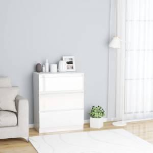 Συρταριέρα Γυαλιστερή Λευκή 60 x 35 x 76 εκ. από Μοριοσανίδα