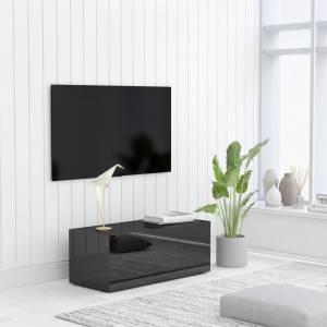 Έπιπλο Τηλεόρασης Γυαλιστερό Μαύρο 80x34x30 εκ. Μοριοσανίδα