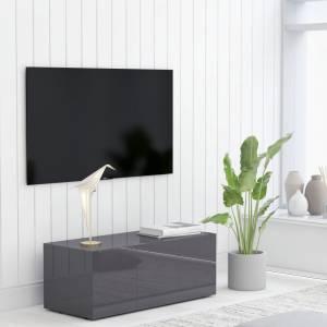 Έπιπλο Τηλεόρασης Γυαλιστερό Γκρι 80 x 34 x 30 εκ. Μοριοσανίδα