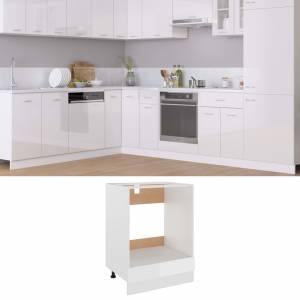 Ντουλάπι για Φούρνο Γυαλιστερό Λευκό 60x46x81,5 εκ. Μοριοσανίδα