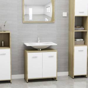 Ντουλάπι Νιπτήρα Λευκό/Sonoma Δρυς 60 x 33 x 58 εκ. Μοριοσανίδα