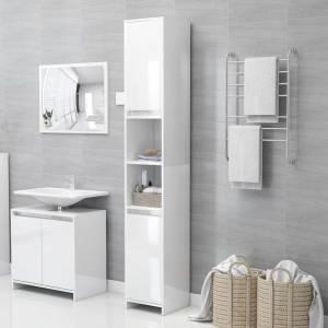 Στήλη Μπάνιου Γυαλιστερό Λευκό 30 x 30 x 183,5 εκ. Μοριοσανίδα