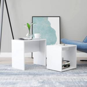 Σετ Τραπεζάκια Σαλονιού Λευκά 48 x 30 x 45 εκ. από Μοριοσανίδα