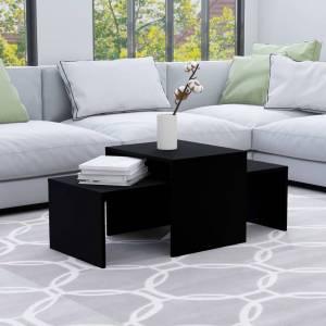 Σετ Τραπεζάκια Σαλονιού Μαύρα 100 x 48 x 40 εκ. από Μοριοσανίδα