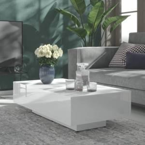 Τραπεζάκι Σαλονιού Γυαλιστερό Λευκό 115x60x31 εκ. Μοριοσανίδα