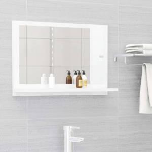 Καθρέφτης Μπάνιου Γυαλιστερό Λευκό 60x10,5x37 εκ. Μοριοσανίδα