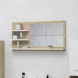 Καθρέφτης Μπάνιου Λευκό/Sonoma Δρυς 90x10,5x45 εκ. Μοριοσανίδα