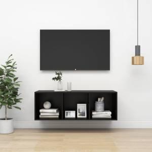 Έπιπλο Τηλεόρασης Κρεμαστό Μαύρο 37x37x107 εκ. από Μοριοσανίδα