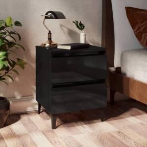 Κομοδίνο Γυαλιστερό Μαύρο 40 x 35 x 50 εκ. από Μοριοσανίδα
