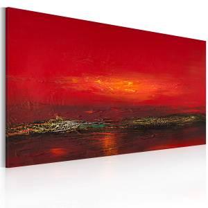 Χειροποίητα ζωγραφισμένος πίνακας - Red sunset over the sea 120x60