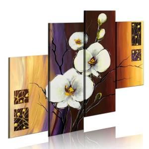 Χειροποίητα ζωγραφισμένος πίνακας - White orchid 120x100